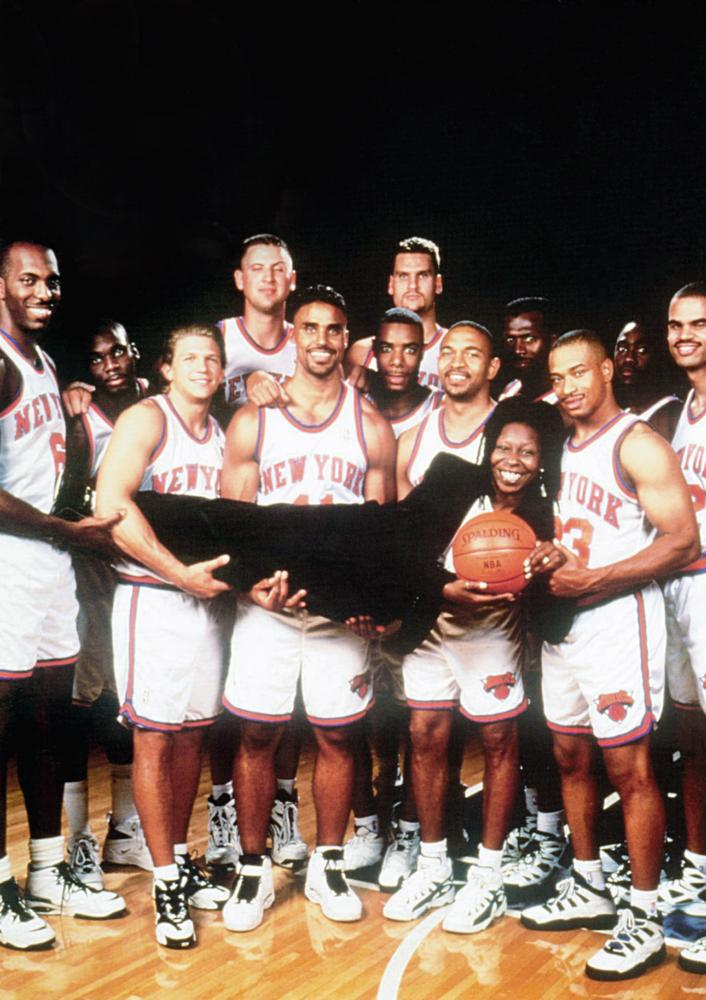 EDDIE, Whoopi Goldberg (horizontal), holding Goldberg: Malik Sealy (extreme left), Rick Fox (center), Mark Jackson (second from right), 1996, © Buena Vista